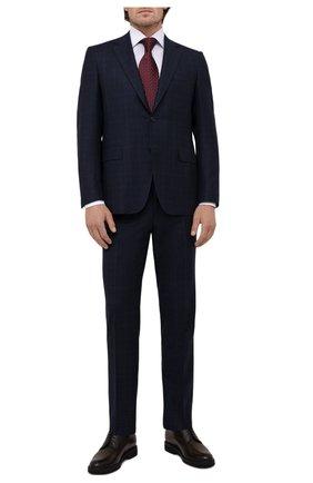 Мужской шерстяной костюм CANALI темно-синего цвета, арт. 11280/19/BF00285 | Фото 1 (Рукава: Длинные; Материал подклада: Купро; Материал внешний: Шерсть; Костюмы М: Однобортный; Стили: Классический)