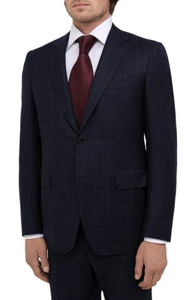 Мужской шерстяной костюм CANALI темно-синего цвета, арт. 11280/19/BF00285 | Фото 2 (Рукава: Длинные; Материал подклада: Купро; Материал внешний: Шерсть; Костюмы М: Однобортный; Стили: Классический)