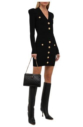 Женское платье из вискозы BALMAIN черного цвета, арт. WF1R8060/K211   Фото 2 (Длина Ж (юбки, платья, шорты): Мини; Рукава: Длинные; Материал внешний: Вискоза; Женское Кросс-КТ: Платье-одежда; Случай: Повседневный; Стили: Романтичный)