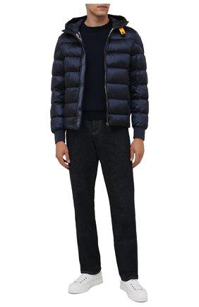 Мужская пуховая куртка PARAJUMPERS темно-синего цвета, арт. SX13/PHARRELL | Фото 2 (Материал внешний: Синтетический материал; Материал подклада: Синтетический материал; Материал утеплителя: Пух и перо; Кросс-КТ: Куртка; Мужское Кросс-КТ: пуховик-короткий; Принт: Без принта; Рукава: Длинные; Длина (верхняя одежда): Короткие)