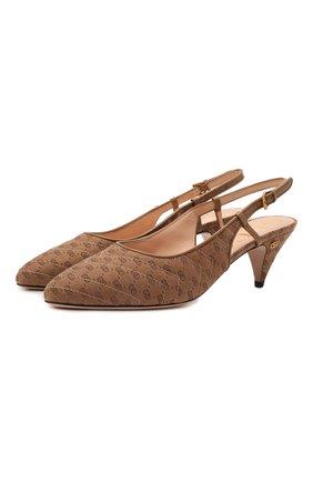 Женские текстильные туфли GUCCI бежевого цвета, арт. 658280/99W00 | Фото 1 (Каблук высота: Средний; Материал внешний: Текстиль; Материал внутренний: Натуральная кожа; Подошва: Плоская; Каблук тип: Устойчивый)