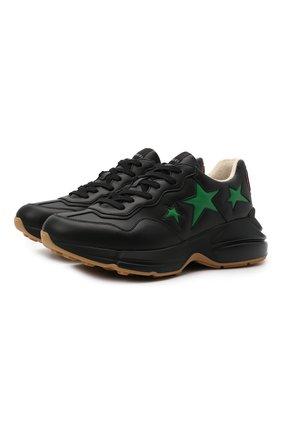 Мужские кроссовки rhyton GUCCI черного цвета, арт. 660939/2SH10 | Фото 1