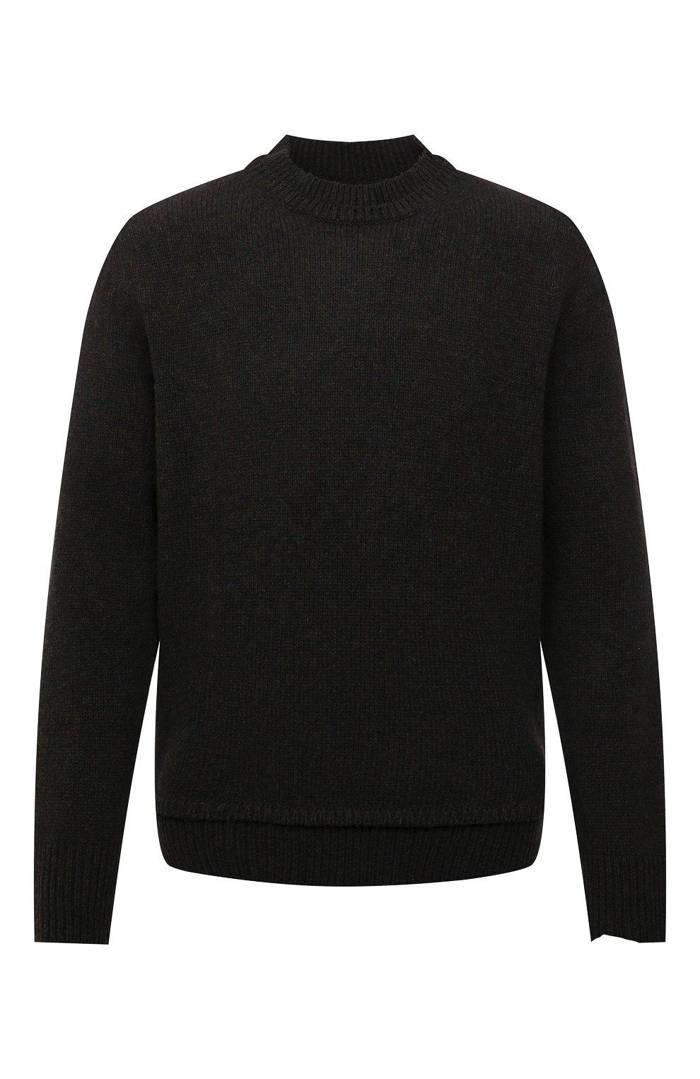 Мужской шерстяной свитер MAISON MARGIELA темно-зеленого цвета, арт. S50GP0243/S17785   Фото 1 (Материал внешний: Шерсть; Рукава: Длинные; Принт: Без принта; Длина (для топов): Стандартные; Мужское Кросс-КТ: Свитер-одежда)