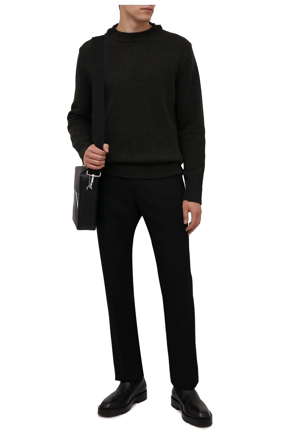 Мужской шерстяной свитер MAISON MARGIELA темно-зеленого цвета, арт. S50GP0243/S17785   Фото 2 (Материал внешний: Шерсть; Рукава: Длинные; Принт: Без принта; Длина (для топов): Стандартные; Мужское Кросс-КТ: Свитер-одежда)