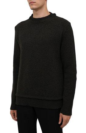 Мужской шерстяной свитер MAISON MARGIELA темно-зеленого цвета, арт. S50GP0243/S17785   Фото 3 (Материал внешний: Шерсть; Рукава: Длинные; Принт: Без принта; Длина (для топов): Стандартные; Мужское Кросс-КТ: Свитер-одежда)