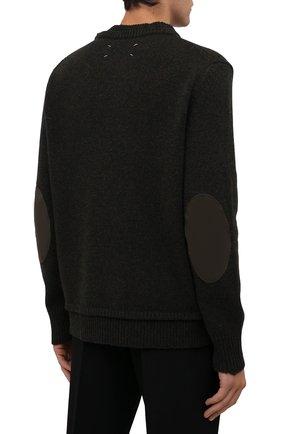 Мужской шерстяной свитер MAISON MARGIELA темно-зеленого цвета, арт. S50GP0243/S17785   Фото 4 (Материал внешний: Шерсть; Рукава: Длинные; Принт: Без принта; Длина (для топов): Стандартные; Мужское Кросс-КТ: Свитер-одежда)