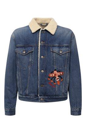 Мужская джинсовая куртка GUCCI синего цвета, арт. 662158/XDBPS | Фото 1 (Материал подклада: Синтетический материал; Рукава: Длинные; Материал внешний: Хлопок; Длина (верхняя одежда): Короткие; Кросс-КТ: Куртка, Деним)