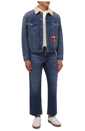 Мужская джинсовая куртка GUCCI синего цвета, арт. 662158/XDBPS | Фото 2 (Материал подклада: Синтетический материал; Рукава: Длинные; Материал внешний: Хлопок; Длина (верхняя одежда): Короткие; Кросс-КТ: Куртка, Деним)