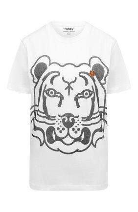Женская хлопковая футболка KENZO белого цвета, арт. FB62TS9184SA | Фото 1 (Материал внешний: Хлопок; Женское Кросс-КТ: Футболка-одежда; Принт: С принтом; Стили: Спорт-шик; Длина (для топов): Стандартные; Рукава: Короткие)
