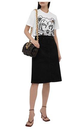 Женская хлопковая футболка KENZO белого цвета, арт. FB62TS9184SA | Фото 2 (Материал внешний: Хлопок; Женское Кросс-КТ: Футболка-одежда; Принт: С принтом; Стили: Спорт-шик; Длина (для топов): Стандартные; Рукава: Короткие)
