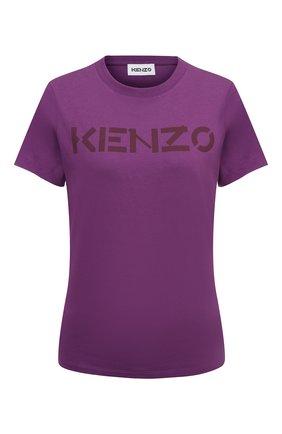 Женская хлопковая футболка KENZO фиолетового цвета, арт. FB62TS8414SA   Фото 1 (Материал внешний: Хлопок; Длина (для топов): Стандартные; Рукава: Короткие; Женское Кросс-КТ: Футболка-одежда; Принт: С принтом; Стили: Спорт-шик)
