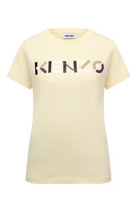 Женская хлопковая футболка KENZO кремвого цвета, арт. FB62TS8404SA | Фото 1