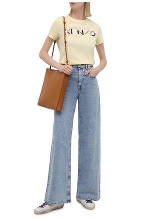 Женская хлопковая футболка KENZO кремвого цвета, арт. FB62TS8404SA | Фото 2