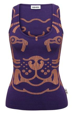 Женский хлопковая майка KENZO фиолетового цвета, арт. FB62TS6654JM   Фото 1 (Длина (для топов): Стандартные; Материал внешний: Хлопок; Женское Кросс-КТ: Майка-одежда; Стили: Спорт-шик)