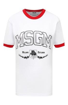 Женская хлопковая футболка MSGM белого цвета, арт. 3141MDM78 217798   Фото 1 (Рукава: Короткие; Длина (для топов): Стандартные; Материал внешний: Хлопок; Женское Кросс-КТ: Футболка-одежда; Принт: С принтом; Стили: Спорт-шик)
