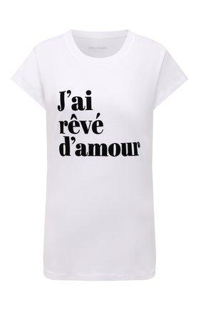 Женская хлопковая футболка ZADIG&VOLTAIRE белого цвета, арт. WKTR1802F   Фото 1