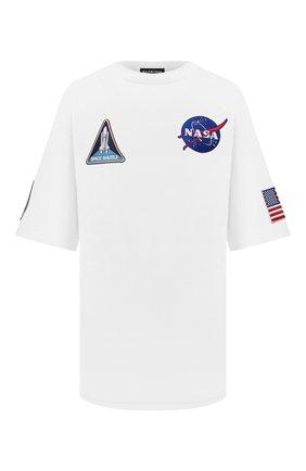 Мужская хлопковая футболка BALENCIAGA белого цвета, арт. 651795/TKVD7 | Фото 1 (Материал внешний: Хлопок; Длина (для топов): Удлиненные; Принт: С принтом; Стили: Спорт-шик; Рукава: Короткие)