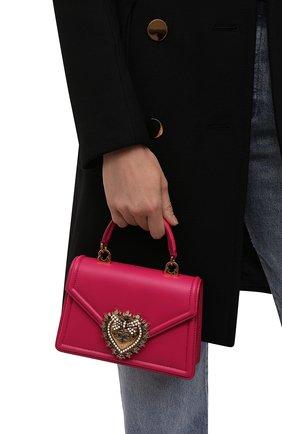 Женская сумка devotion small DOLCE & GABBANA фуксия цвета, арт. BB6711/AV893   Фото 2 (Материал: Натуральная кожа; Сумки-технические: Сумки top-handle, Сумки через плечо; Размер: small; Ремень/цепочка: На ремешке)
