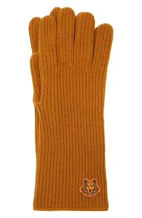 Женские шерстяные перчатки KENZO светло-коричневого цвета, арт. FB68GM131KFB   Фото 1 (Материал: Шерсть; Кросс-КТ: Трикотаж)