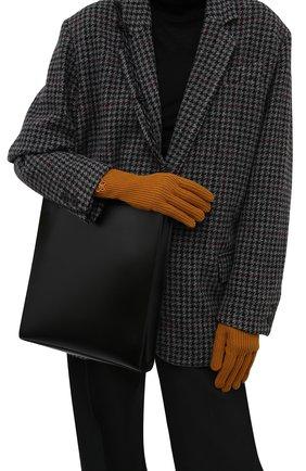 Женские шерстяные перчатки KENZO светло-коричневого цвета, арт. FB68GM131KFB   Фото 2 (Материал: Шерсть; Кросс-КТ: Трикотаж)