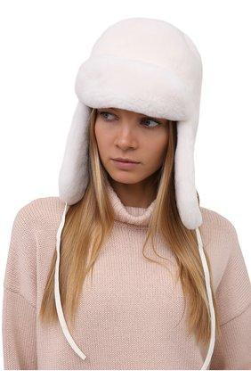 Женская шапка-ушанка из меха норки KITON белого цвета, арт. D52784X05S08   Фото 2