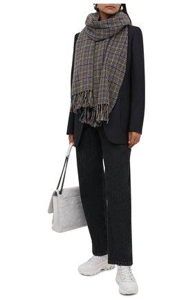 Женский шарф из кашемира и шелка SAINT LAURENT серого цвета, арт. 665002/3Y942 | Фото 2 (Материал: Кашемир, Шерсть)