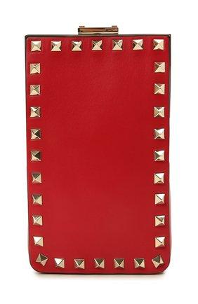 Чехол для телефона rockstud VALENTINO красного цвета, арт. WW2P0W35/NAP   Фото 1 (Женское Кросс-КТ: Кожа iPhone)