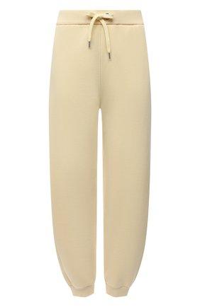 Женские джоггеры из хлопка и шерсти BOSS желтого цвета, арт. 50457837 | Фото 1 (Материал внешний: Хлопок; Длина (брюки, джинсы): Стандартные; Женское Кросс-КТ: Джоггеры - брюки, Брюки-спорт; Силуэт Ж (брюки и джинсы): Джоггеры; Стили: Спорт-шик)