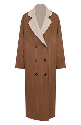 Женское шерстяное пальто LORENA ANTONIAZZI коричневого цвета, арт. A2104CP25A/3579 | Фото 1 (Длина (верхняя одежда): Длинные; Рукава: Длинные; Материал внешний: Шерсть; 1-2-бортные: Двубортные; Стили: Кэжуэл)