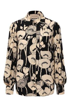 Женская шелковая блузка GUCCI черного цвета, арт. 652693/ZAGRX | Фото 1