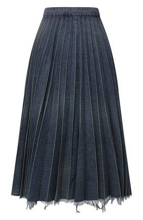 Женская джинсовая юбка BALENCIAGA синего цвета, арт. 657640/TJW67 | Фото 1 (Материал внешний: Хлопок; Кросс-КТ: Деним; Женское Кросс-КТ: Юбка-одежда, юбка-плиссе; Стили: Гранж; Длина Ж (юбки, платья, шорты): До колена)