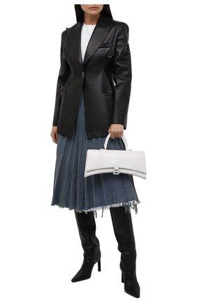 Женская джинсовая юбка BALENCIAGA синего цвета, арт. 657640/TJW67 | Фото 2 (Материал внешний: Хлопок; Кросс-КТ: Деним; Женское Кросс-КТ: Юбка-одежда, юбка-плиссе; Стили: Гранж; Длина Ж (юбки, платья, шорты): До колена)
