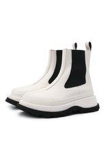 Женские кожаные ботинки JIL SANDER белого цвета, арт. JS37070A-14061 | Фото 1 (Каблук высота: Средний; Подошва: Платформа; Материал внутренний: Натуральная кожа; Женское Кросс-КТ: Челси-ботинки)