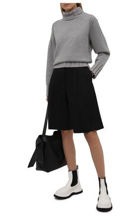 Женские кожаные ботинки JIL SANDER белого цвета, арт. JS37070A-14061 | Фото 2 (Каблук высота: Средний; Подошва: Платформа; Материал внутренний: Натуральная кожа; Женское Кросс-КТ: Челси-ботинки)