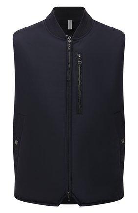 Мужской утепленный жилет BOGNER темно-синего цвета, арт. 38542487 | Фото 1 (Материал внешний: Синтетический материал; Кросс-КТ: Куртка; Стили: Спорт-шик; Длина (верхняя одежда): Короткие)