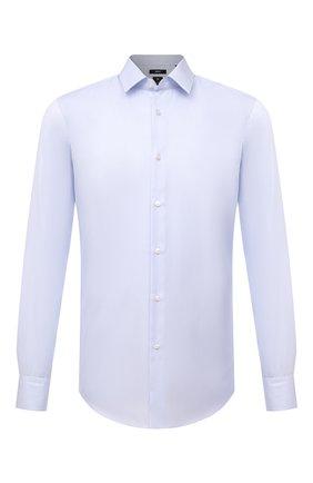 Мужская хлопковая сорочка BOSS голубого цвета, арт. 50460804 | Фото 1 (Материал внешний: Хлопок; Случай: Формальный; Рубашки М: Regular Fit; Принт: Однотонные; Рукава: Длинные; Манжеты: На пуговицах; Стили: Классический; Длина (для топов): Стандартные)