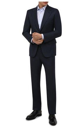 Мужская хлопковая сорочка BOSS голубого цвета, арт. 50460804 | Фото 2 (Материал внешний: Хлопок; Случай: Формальный; Рубашки М: Regular Fit; Принт: Однотонные; Рукава: Длинные; Манжеты: На пуговицах; Стили: Классический; Длина (для топов): Стандартные)