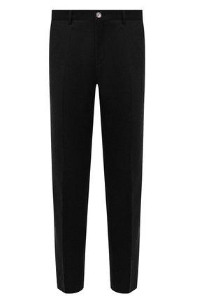 Мужские шерстяные брюки BOSS темно-серого цвета, арт. 50458787 | Фото 1 (Материал внешний: Шерсть; Случай: Повседневный; Стили: Кэжуэл; Длина (брюки, джинсы): Стандартные)