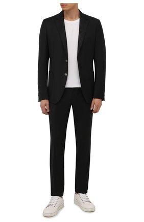 Мужские шерстяные брюки BOSS темно-серого цвета, арт. 50458787 | Фото 2 (Материал внешний: Шерсть; Случай: Повседневный; Стили: Кэжуэл; Длина (брюки, джинсы): Стандартные)