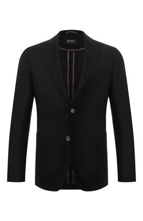 Мужской шерстяной пиджак BOSS темно-серого цвета, арт. 50458785 | Фото 1 (Материал внешний: Шерсть; 1-2-бортные: Однобортные; Пиджаки М: Приталенный; Случай: Коктейльный; Стили: Классический; Рукава: Длинные; Длина (для топов): Стандартные)