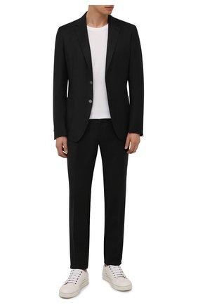 Мужской шерстяной пиджак BOSS темно-серого цвета, арт. 50458785 | Фото 2 (Материал внешний: Шерсть; 1-2-бортные: Однобортные; Пиджаки М: Приталенный; Случай: Коктейльный; Стили: Классический; Рукава: Длинные; Длина (для топов): Стандартные)