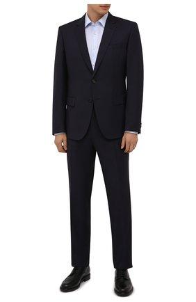 Мужской шерстяной костюм BOSS темно-фиолетового цвета, арт. 50458874 | Фото 1 (Рукава: Длинные; Материал внешний: Шерсть; Костюмы М: Однобортный; Стили: Классический)