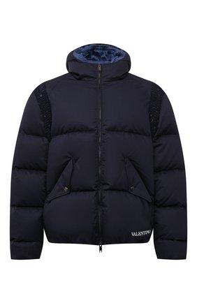 Мужская пуховая куртка VALENTINO темно-синего цвета, арт. WV3CNB357MW | Фото 1 (Материал внешний: Хлопок; Материал утеплителя: Пух и перо; Материал подклада: Синтетический материал; Кросс-КТ: Куртка; Мужское Кросс-КТ: пуховик-короткий; Стили: Кэжуэл; Длина (верхняя одежда): Короткие; Рукава: Длинные)