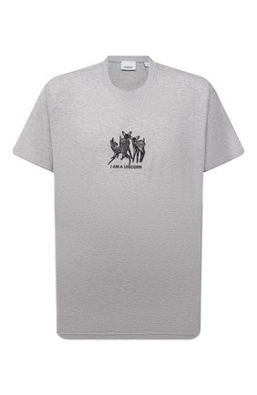 Мужская хлопковая футболка BURBERRY светло-серого цвета, арт. 8044133 | Фото 1
