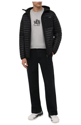 Мужская хлопковая футболка BURBERRY светло-серого цвета, арт. 8044133 | Фото 2