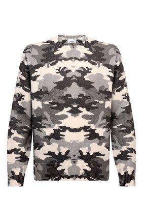 Мужской шерстяной свитер BURBERRY серого цвета, арт. 8043020 | Фото 1 (Материал внешний: Шерсть; Длина (для топов): Стандартные; Рукава: Длинные; Мужское Кросс-КТ: Свитер-одежда; Принт: С принтом; Стили: Кэжуэл)