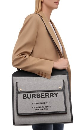 Женский сумка pocket BURBERRY серого цвета, арт. 8042461 | Фото 2 (Размер: large; Материал: Текстиль; Сумки-технические: Сумки-шопперы)