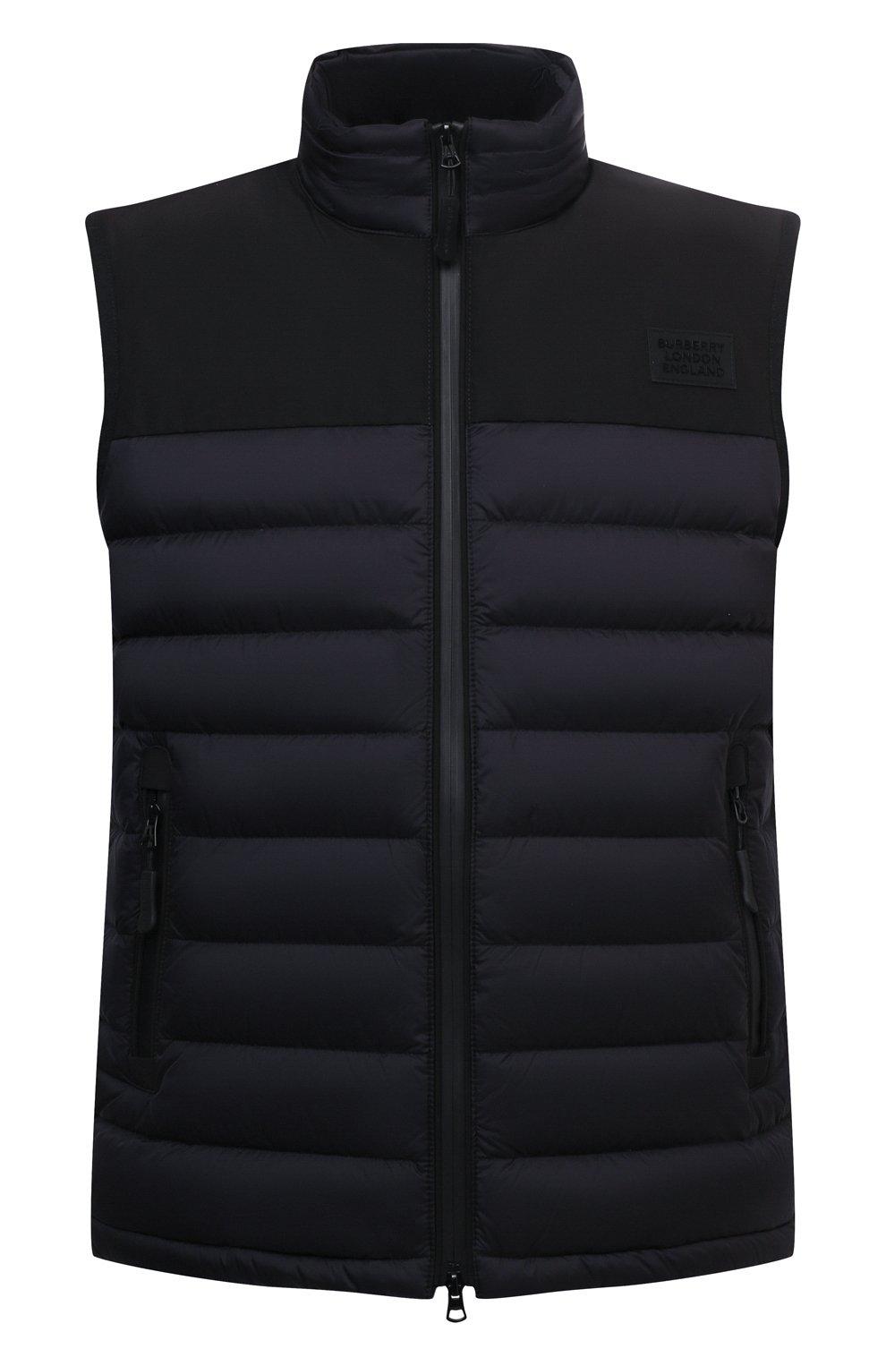 Мужской утепленный жилет BURBERRY черного цвета, арт. 8034317 | Фото 1 (Кросс-КТ: Куртка; Материал внешний: Синтетический материал; Стили: Спорт-шик; Материал подклада: Синтетический материал; Длина (верхняя одежда): Короткие)