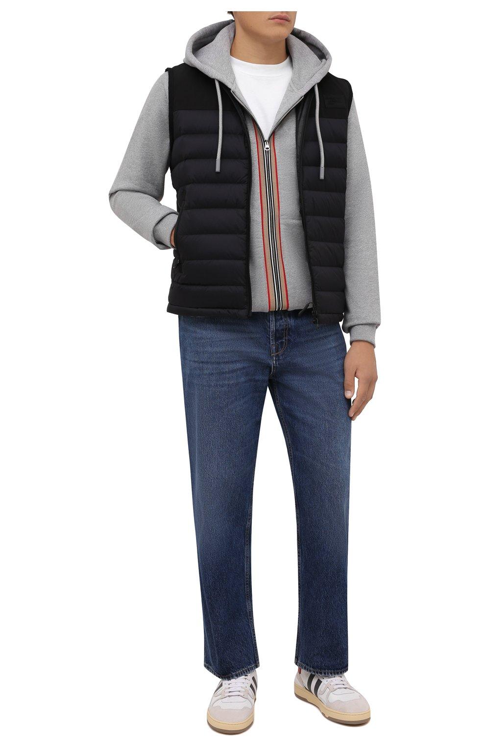 Мужской утепленный жилет BURBERRY черного цвета, арт. 8034317 | Фото 2 (Кросс-КТ: Куртка; Материал внешний: Синтетический материал; Стили: Спорт-шик; Материал подклада: Синтетический материал; Длина (верхняя одежда): Короткие)