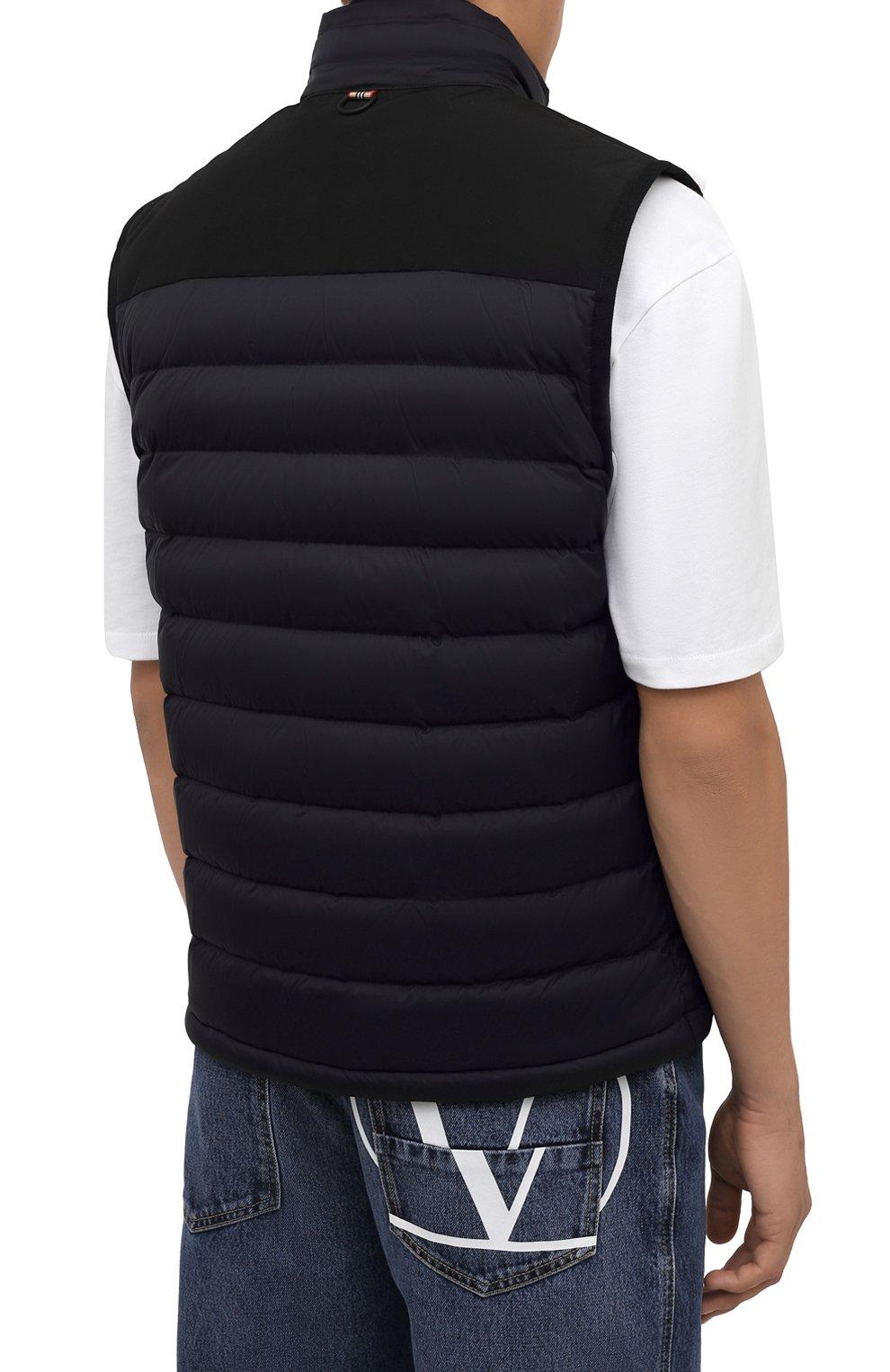 Мужской утепленный жилет BURBERRY черного цвета, арт. 8034317 | Фото 4 (Кросс-КТ: Куртка; Материал внешний: Синтетический материал; Стили: Спорт-шик; Материал подклада: Синтетический материал; Длина (верхняя одежда): Короткие)